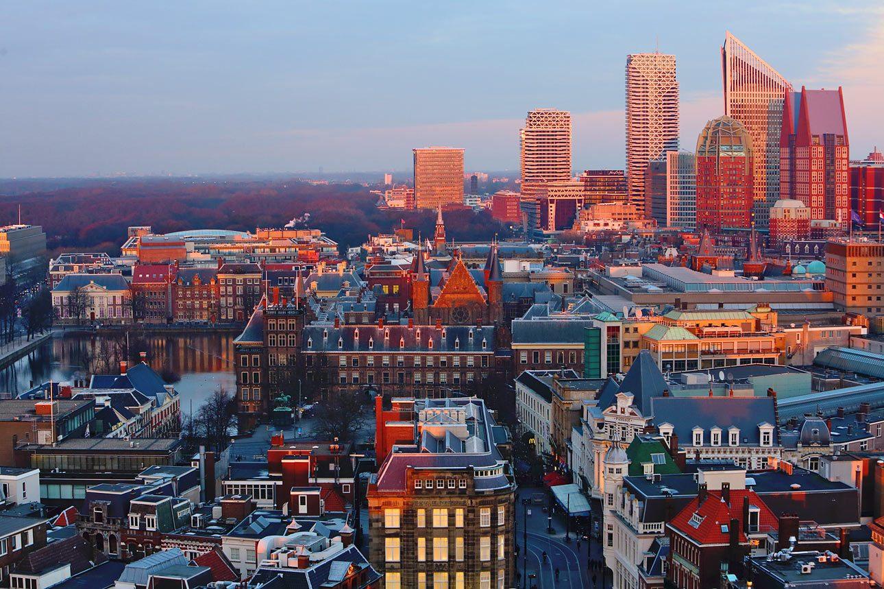 Uitzicht vanaf de grote kerk Den Haag centrum
