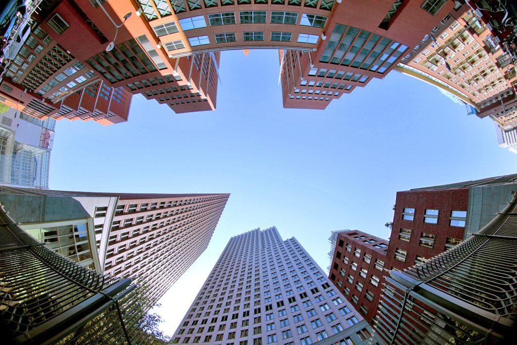 Centrum Den Haag, gefotografeerd met fish-eye lens