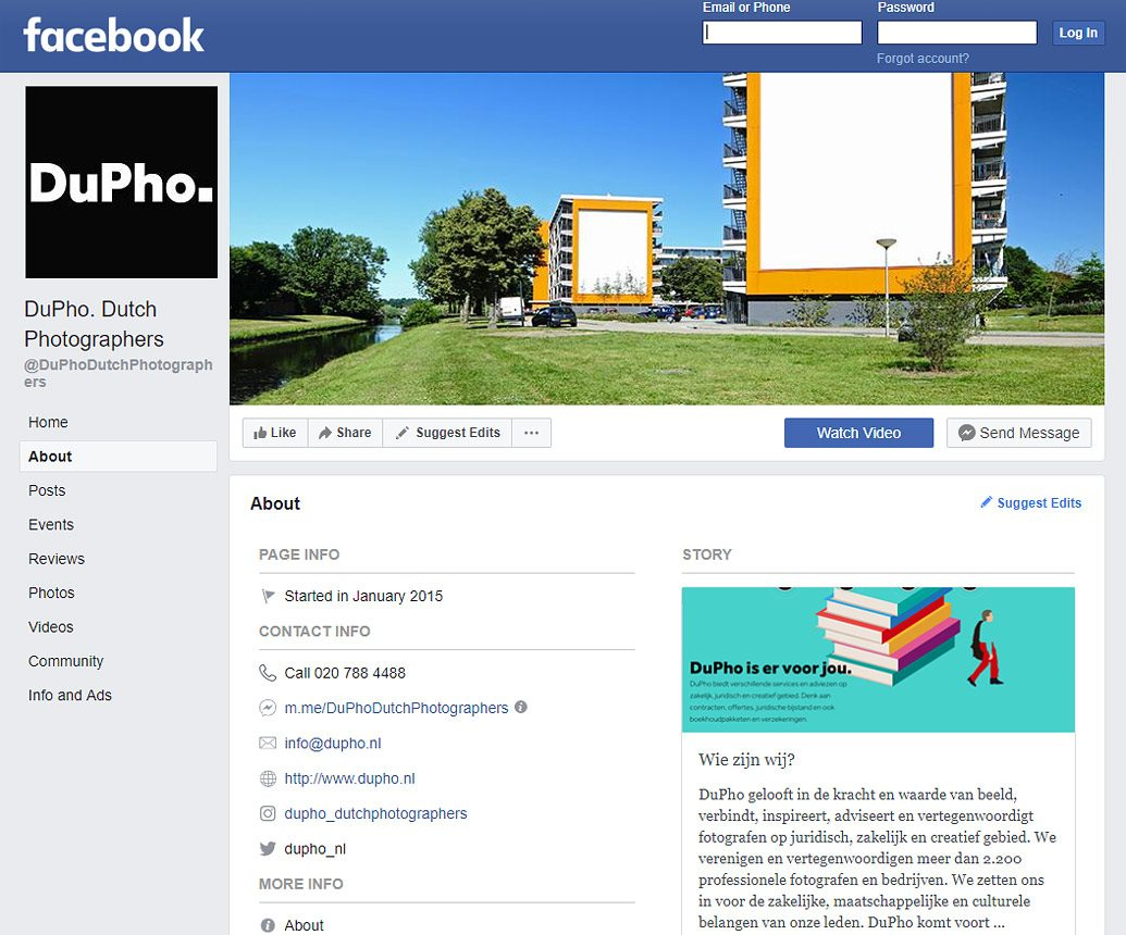 Fotografie voor facebook DuPho website