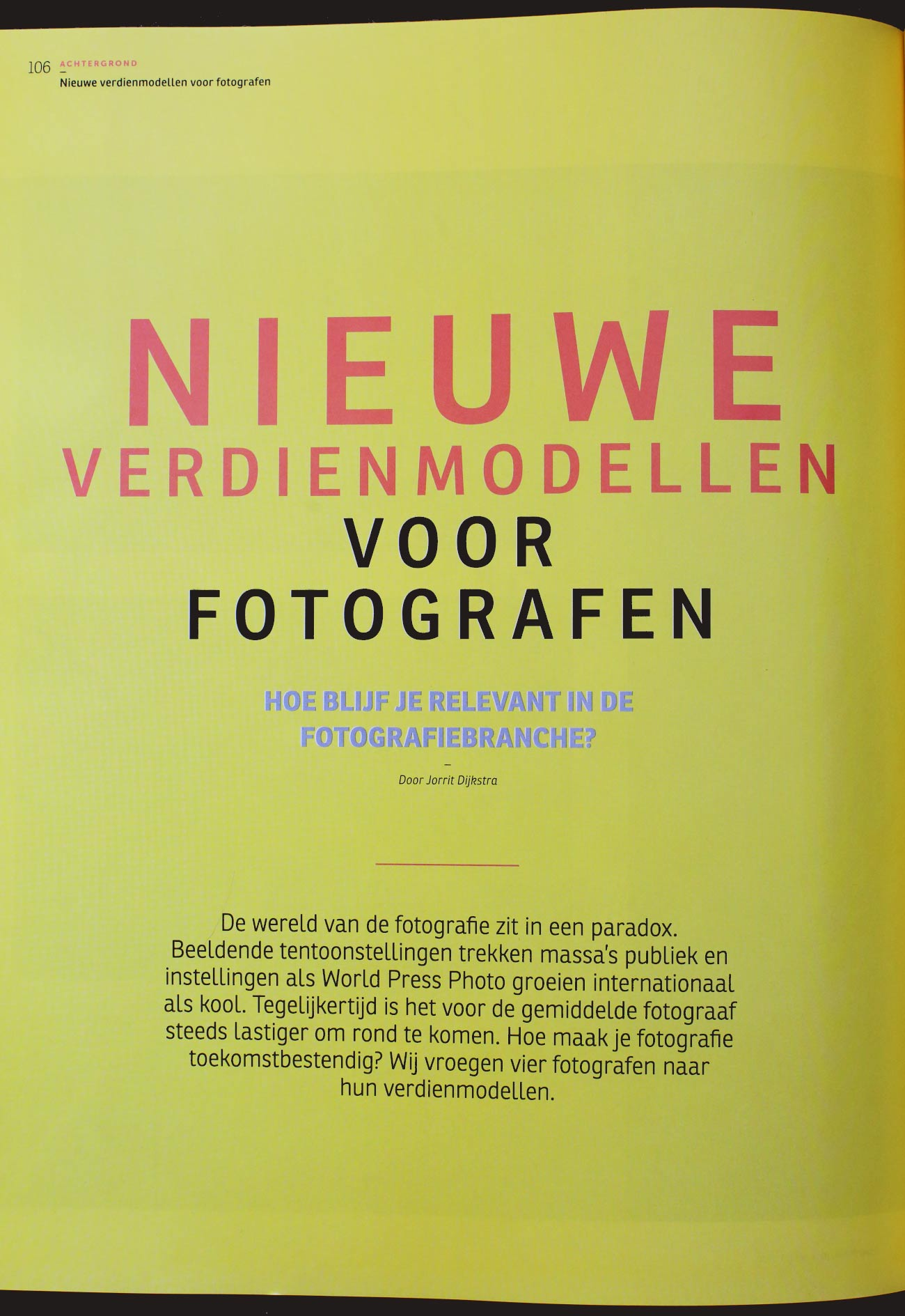 Nieuwe verdienmodellen voor fotografen