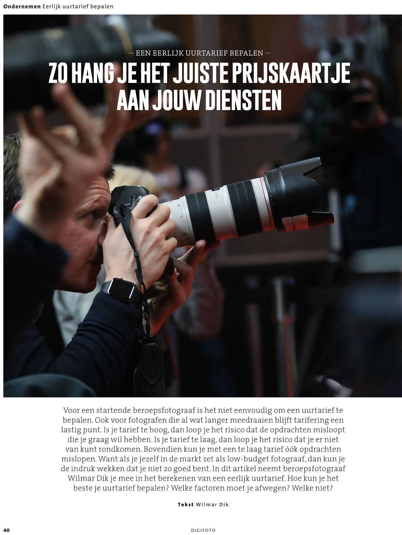 uurtarief van een fotograaf